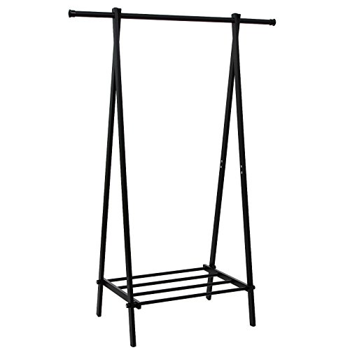 SONGMICS Black Metal Clothes Rack with 1-Tire Storage
