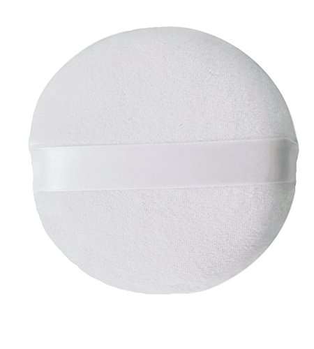 Powder Puff for Body, Face, or Baby - Extra Large Jumbo Size (5 inch), Cotton Velour and Sponge Material with Satin Handle, Use for Dusting Powder or Blending & Setting Makeup Foundation