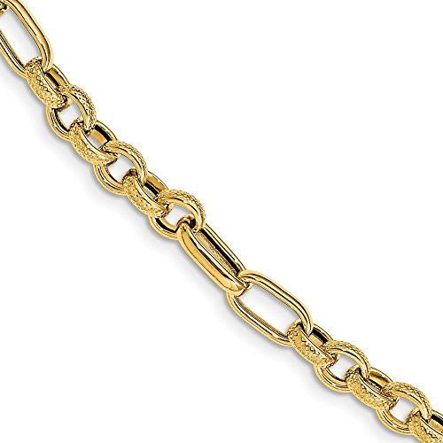 Jewels By Lux 14K Yellow Gold Polished Textured Fancy Link with .5In Extension Bracelet