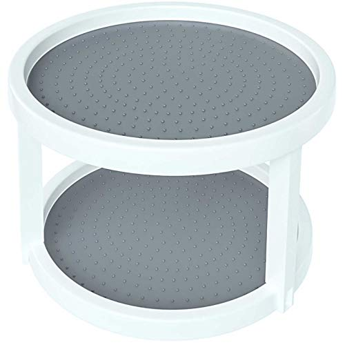 Home Intuition 2-Tier Twin Turntable Non Skid Lazy Susan for Cabinets and Pantry (1)