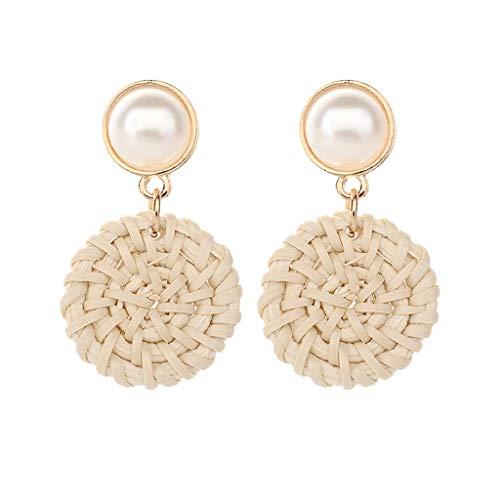 LiboboBohemian Retro Style Handmade Pearl Rattan Geometric Gound Ladies Jewelry