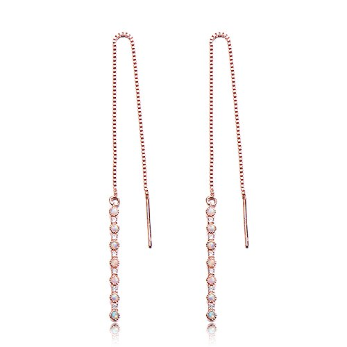 - Opal CZ Diamond Threader Drop Earrings 925 Sterling Silver Rose Gold Plated Long Chain