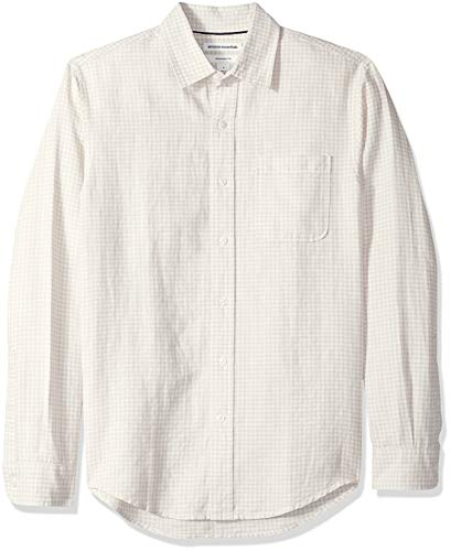 Amazon Essentials Men's Slim-Fit Long-Sleeve Gingham Linen Shirt, Natural, -