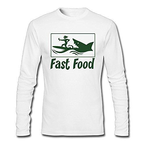 Nacustom Men's Fast Food Long Sleeve T-Shirt L White