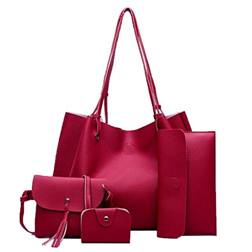 (Women Handbag Fashion Four Sets Bag Women Leather Handbags Messenger Waist Wallet Purse Duseedik Wine)