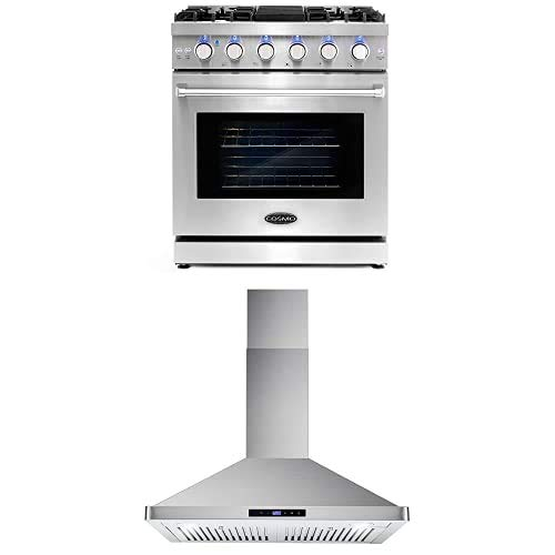 Cosmo Appliance Package 30″ COS-EPGR304 Gas Range and 30″ COS-63175S Wall Mount Range Hood