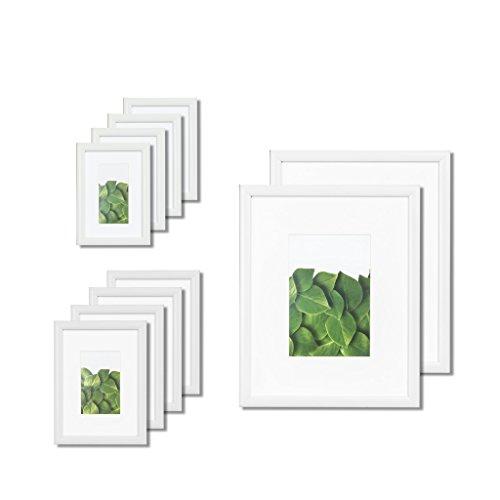 VISTA Kayan Gallery 10pc Set in WHITE, (2) 8x10, (4) 5x7,(4) 4x6, Wide Mats