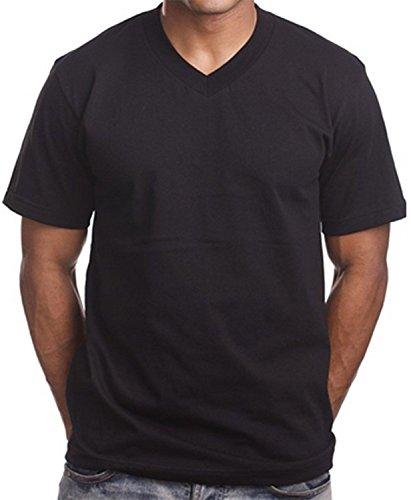 2 Pack Black V Neck Men's Plain T shirts PRO 5 Blank Tees Urban Wear Summer T's (XL - Extra Large Mens) (Heavyweight V-neck T-shirt)