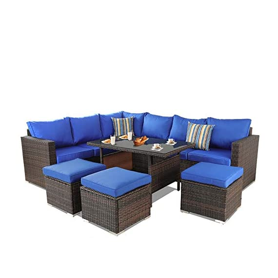 Patio Furniture Garden 7 PCS Sectional Sofa Brown Wicker Conversation Set Outdoor Indoor Use Couch Set Royal Blue Cushion - Comfortable Sectional sofa ➢ This mdern comfortable sofa set come with enough room to greet your family party,Sofa have Royal Blue cushions allow for further comfortable and better support while you sit than a traditional cushions and Sofa's table have tempered glass top to Stable hold food and drinks. Brown PE Rattan Sofa Set ➢Mimic the natural wicker material more better than natural rattan,and PE rattan easy to clean and Hand-treated rattan more antioxidant,Outdoor Indoor Use,such as Backyard Porch,Deck ,Garden Poolside,Balcony patio or Even pool Royal Blue Cushioned Sofa ➢Cushion foam is packed in vacuum.it is high elasticity,please put the foam into the Royal Blue cushion cover,then pat it,later the cushion will become plump. - patio-furniture, patio, conversation-sets - 41OAU6QMSlL. SS570  -