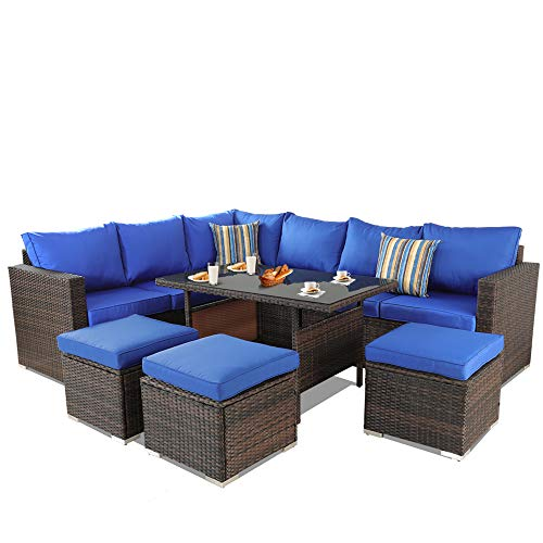 Patio Furniture Garden 7 PCS Sectional Sofa Brown Wicker Conversation Set Outdoor Indoor Use Couch Set Royal Blue Cushion