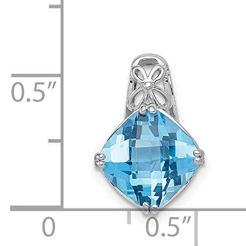 Blue Topaz Pendant 15x10mm in 925 Sterling Silver 3.27ct 15x11mm