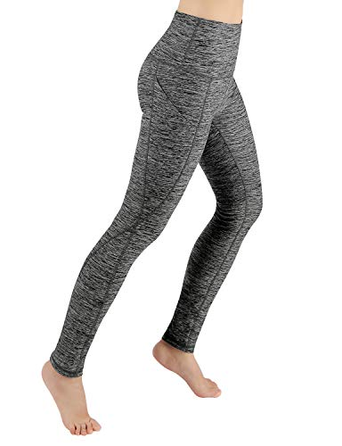 ODODOS High Waist Out Pocket Yoga Pants Tummy Control Workout Running 4 Way Stretch Yoga Leggings,CharcoalHeather,Small