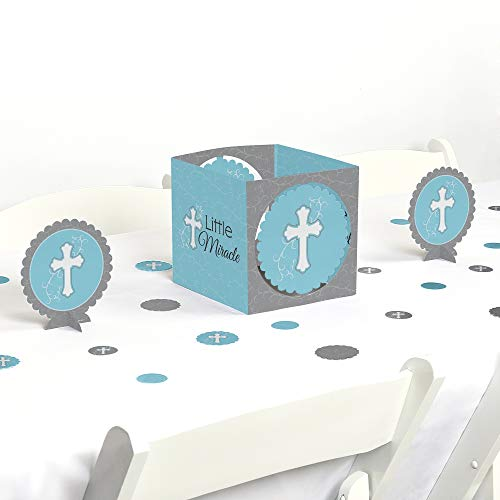 Big Dot of Happiness Little Miracle Boy Blue & Gray Cross - Baptism or Baby Shower Centerpiece and Table Decoration Kit -