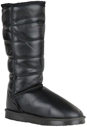 Damen Schneestiefel Schnee Winterstiefel Winter Stiefel warm gefüttert Boots hoch Schwarz