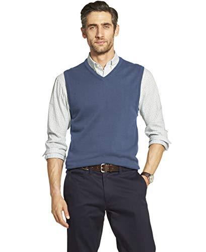 IZOD Men's Premium Essentials Solid V-Neck 12 Gauge Sweater Vest, FEDERAL BLUE, Large