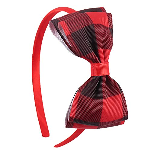 plaid bow headband - checkered bow headband - baby headband - buffalo plaid headband - plaid bow - red and black bow headband - girls headband - buffalo print bow headband - headband -