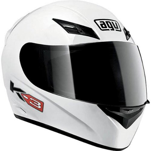 AGV K3 Series Helmet , Size: Md, Color: White, Style: Solid 03215490001007
