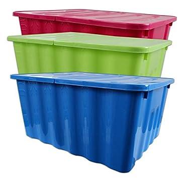 Aufbewahrungsbox Stapelbox Kunststoff Farbig Sortiert Klappbarer