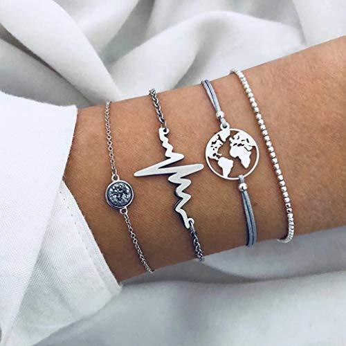 GloryMM 4 Pcs Earth Map Love Heartbeat ECG Multilayer Bracelets Set Beaded Charm Friendship Valentine's Gift