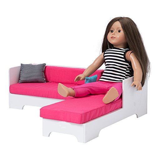 Adorable Sofa Bed with Bedding for 18 inch Dolls - Doll Furniture
