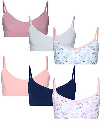 Sweet & Sassy Girls' V Neck Seamless Training Bra with Adjustable Straps (6 Pack), Assortment 4, Size - Adjustable Training Bra
