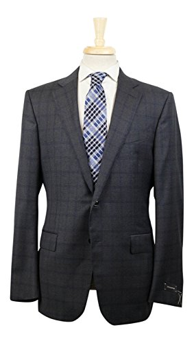 Ermenegildo Zegna Charcoal Gray Plaid Wool 2 Button for sale  Delivered anywhere in USA