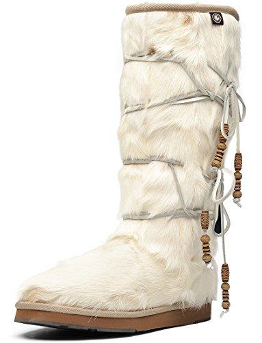 Aumu Women Tradional Wooden Bead String Sheepskin Fur Shearling Stylish Knee High Winter Snow Boots White Size 10 (Fox Fur Winter Boots)
