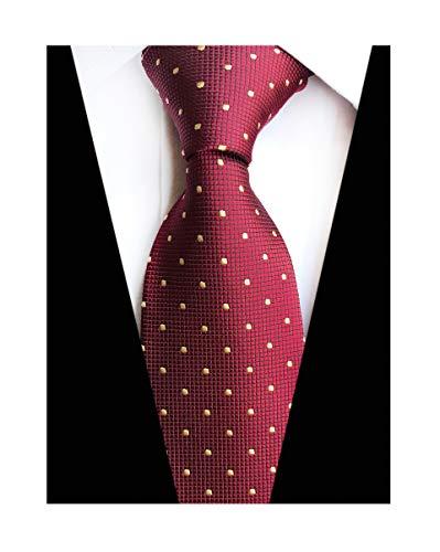 (Elfeves Men Modern Tartan Formal Ties Checks Plaid Gingham Pattern Woven Necktie (One Size, Burgundy Red Dot))