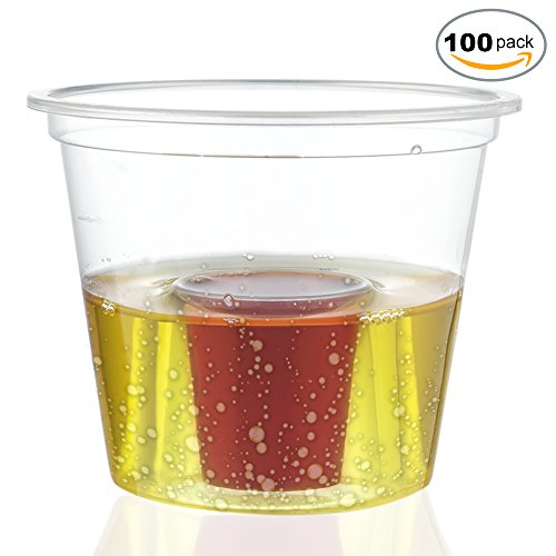 100 Disposable Clear Plastic Bomb Shot Glasses - Perfect for Jagermeister - Red Bull and Energy Drinks at Parties & Celebrations