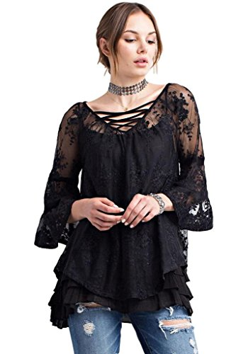 Easel Women's 3/4 Bell Sleeve Sleeve Bohemian Lace Tunic with Criss Cross Strap Front and Tie Back (Large, Black)
