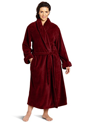 Casual Moments Women's Plus-Size 50 Inch Set-In Belt Robe, Deep Plum, 3X (Womens Plus Size Robes)