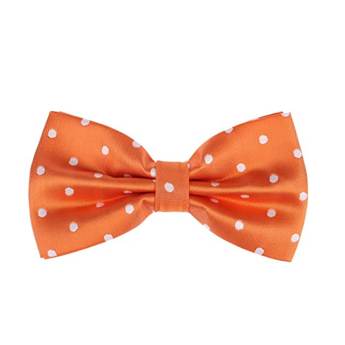 Dan Smith DBD3D01P Orange Polka Dots Microfiber Gentlemen Gift Idea Pre-tied Bow Tie ()