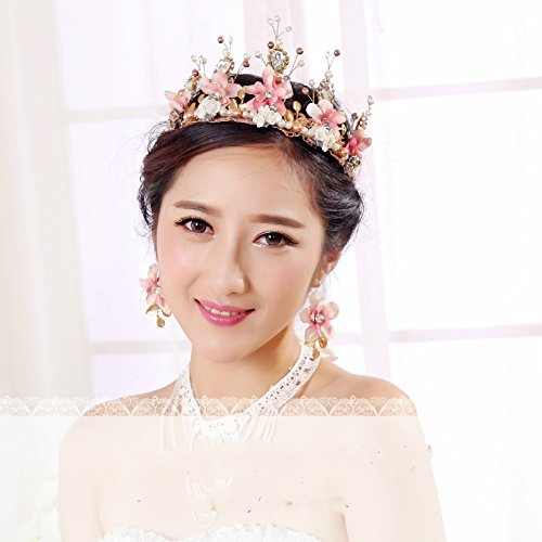 Shindn Flower Tiara Crown Headband Comb Pin Bride Crown for Wedding Bridal