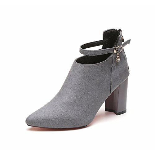 Boots Female Tip With Shoes Heeled Gray Buckle 38 Zipper yalanshop Thick Satin Martin High BxqwtvBPnS