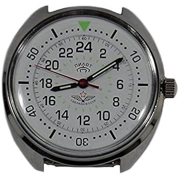 288f3c0eb91 Amazon.com   Russian Mechanical watch 24 hr military dial POLAR BEAR ...