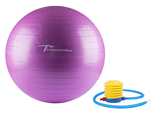 Timberbrother Exercise Stability Ball / Fitness Ball / Balance Ball with Pump (Violet, 65cm)
