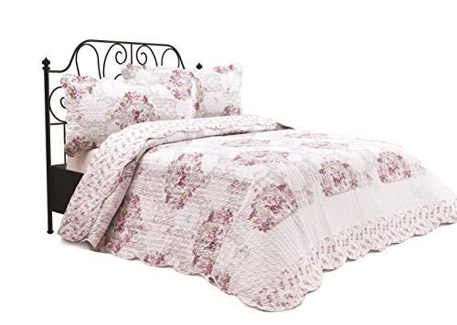 Chiara Rose 3 Piece Reversible Quilt Set Oversized Bedspread Coverlet Lightweight Comforter King OTTM RS