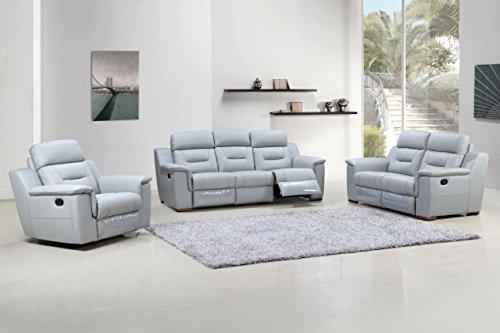 Blackjack Furniture 9408-GRAY Sofa Set Leather Match Sofa, Loveseat, Chair, Gray, 3 (Sag Sofa Set)