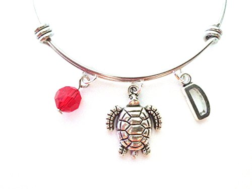 (Tortoise themed personalized bangle bracelet. Antique silver charms and a genuine Swarovski birthstone colored element.)