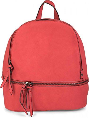 styleBREAKER leatherette backpack handbag with zips, noble style, rucksack, bag, unisex 02012147, Color Beige Red
