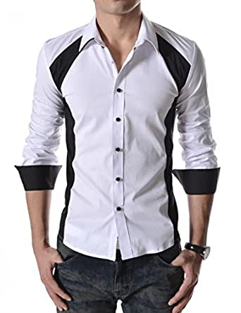 TheLees (N330) Mens Casual Slim Fit 2 Tone Long Sleeve Stretchy Shirts Whiteblack US XS(Tag size M)