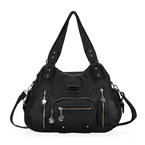 Hynes Victory Multi Front Pockets Shoulder Bags (Black)