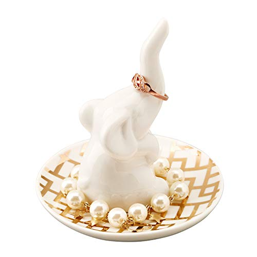 (HOME SMILE White Elephant Ring Holder with Decorative Gold Design Dish,Christmas Birthday Gifts for Women Girls )