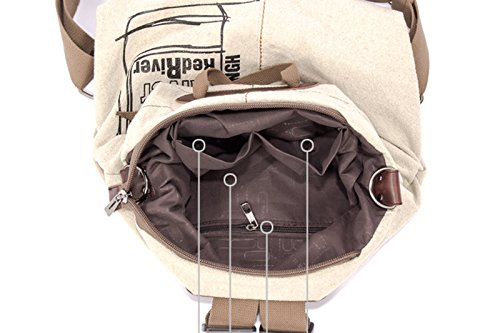 EasyHui Canvas Printed Satchel Convertible Backpack Crossbody Bag Women Vintage Shoulder Handbag Unisex Travel Backpack Beige by EasyHui (Image #3)