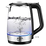 iKich Glass Electric Kettle Illuminated, 1.7L Cordless Water Kettle with Auto Shut-Off & Boil-Dry Protection, Quiet BPA Free Water Boiler, Stainless Steel Inner Lid & Bottom, 2200W