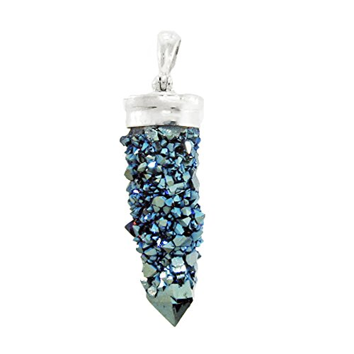 Starborn Creations Sterling Silver Spirit Quartz Drusy Pendant in Steely Blue