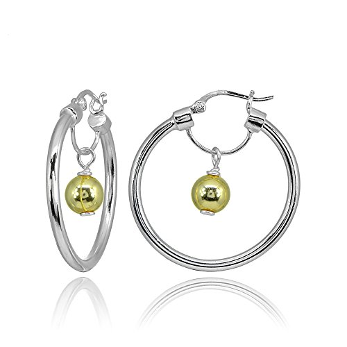 (Sterling Silver Two Tone High Polished Dangling Bead Hoop)