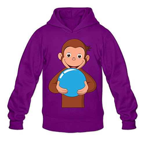 Chris-T Curious George Men's Long Sleeve Hoody Purple US Size XXL -