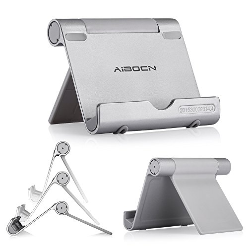 Aibocn Multi-Angle Cell Phone Stand Aluminum Tablet Stand for Tablets Smartphones and E-Readers, Silver