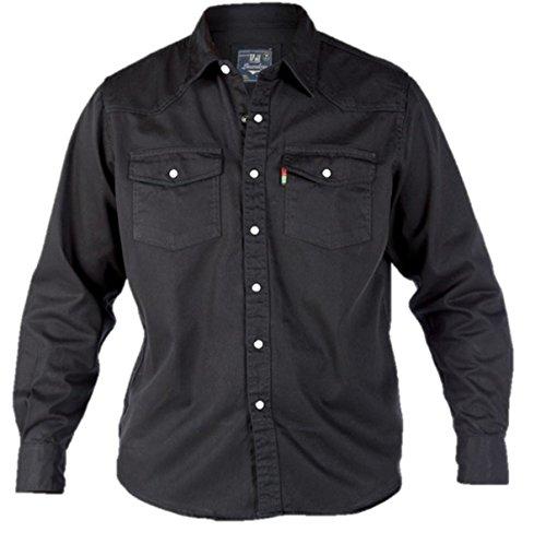 Duke KS1024 Jeans Western-Hemd schwarz in Übergrößen: Farbe: schwarz | Kragenweite: 45/46-1XL